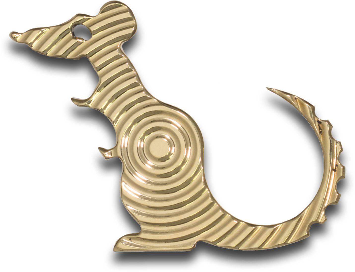 The Rat Bastard RB Tools and Design Polished Brass Vertigo  inchCarl inch Bottle Opener