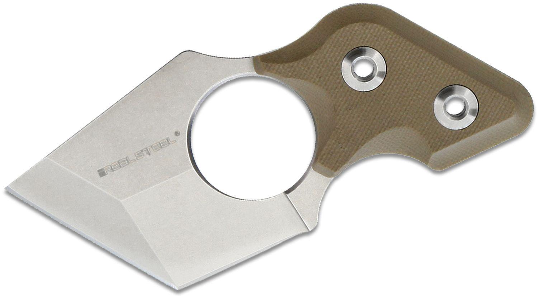 Real Steel Knives Black Cat Neck Knife 2.13 inch 9Cr18MoV Stonewash Tanto Blade, Coyote Tan G10 Handles, Kydex Sheath