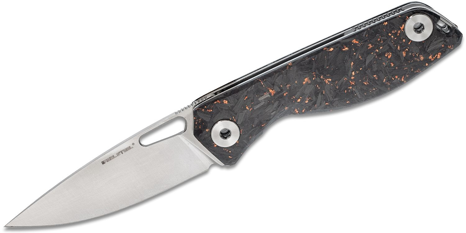Real Steel Knives Sidus Folding Knife 3.48 inch D2 Satin Drop Blade, Copper Carbon Fiber Shred Handles