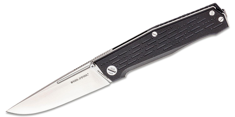 Real Steel Knives Rokot Folding Knife 3.74 inch N690 Satin Drop Point Blade, Milled Black G10 Handles