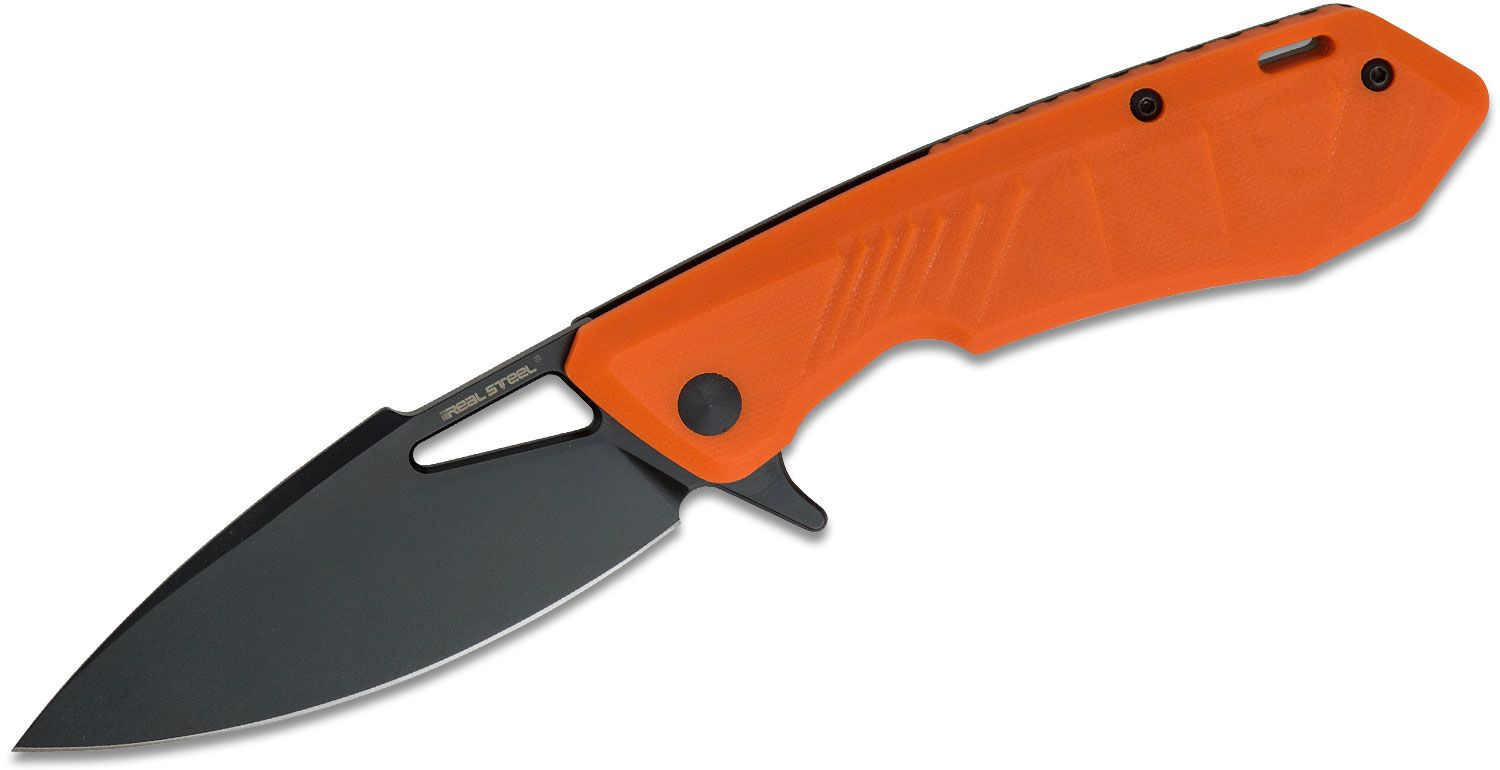 Real Steel Knives Pelican Flipper Knife 3.35 inch Black D2 Drop Point Blade, Orange G10 & Black Stainless Steel Handles