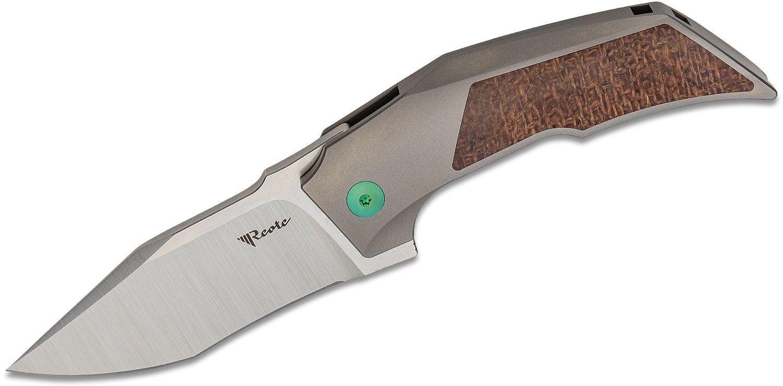 Reate Knives Tashi Bharucha T3000 Flipper Knife 3 inch M390 Satin Blade, Titanium Handles with Burlap Micarta Inlays, Green Anodized Hardware