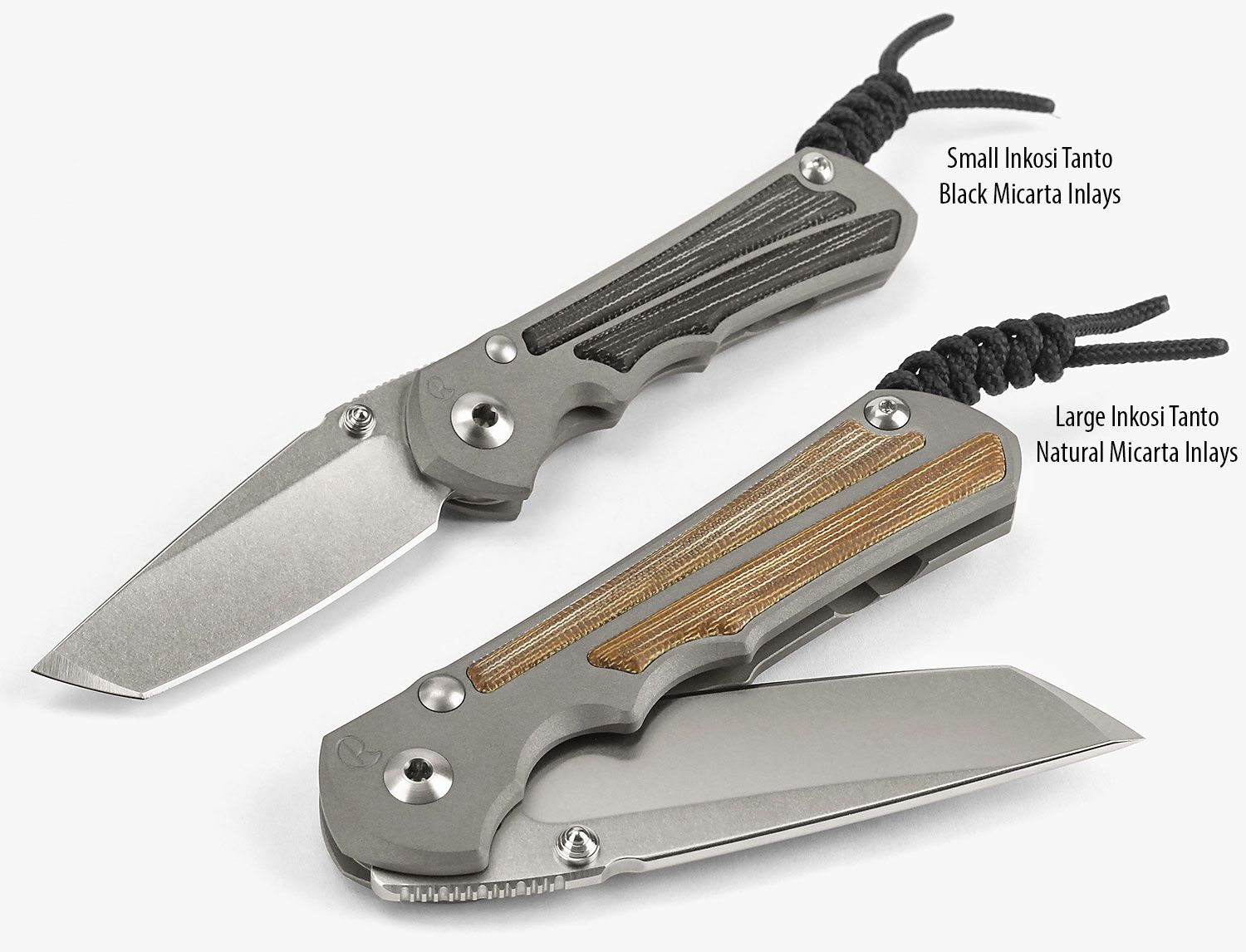 Chris Reeve Left Handed Small Inkosi Tanto Folding Knife 2.8 inch S35VN Stonewashed Blade, Titanium Handles with Natural Canvas Micarta Inlays