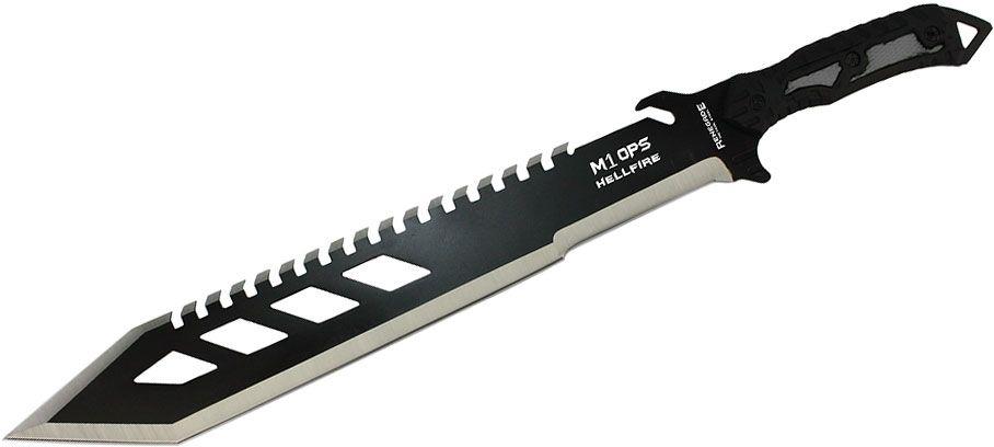 Renegade Tactical Steel M1OPS Hellfire Machete 18.25 inch Sawback Blade, Black Rubberized ABS Handles, Nylon Sheath