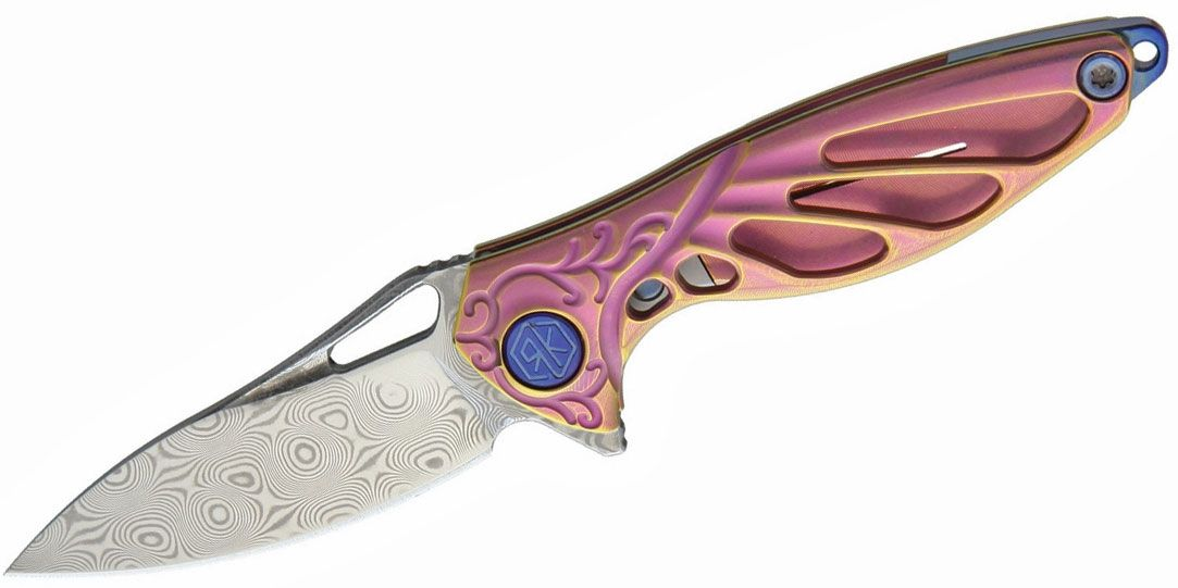 Rike Knife Hummingbird Miniature Keychain Flipper 1.57 inch Rose Damasteel Blade, Pink Anodized Titanium Handles, Kydex Neck Sheath