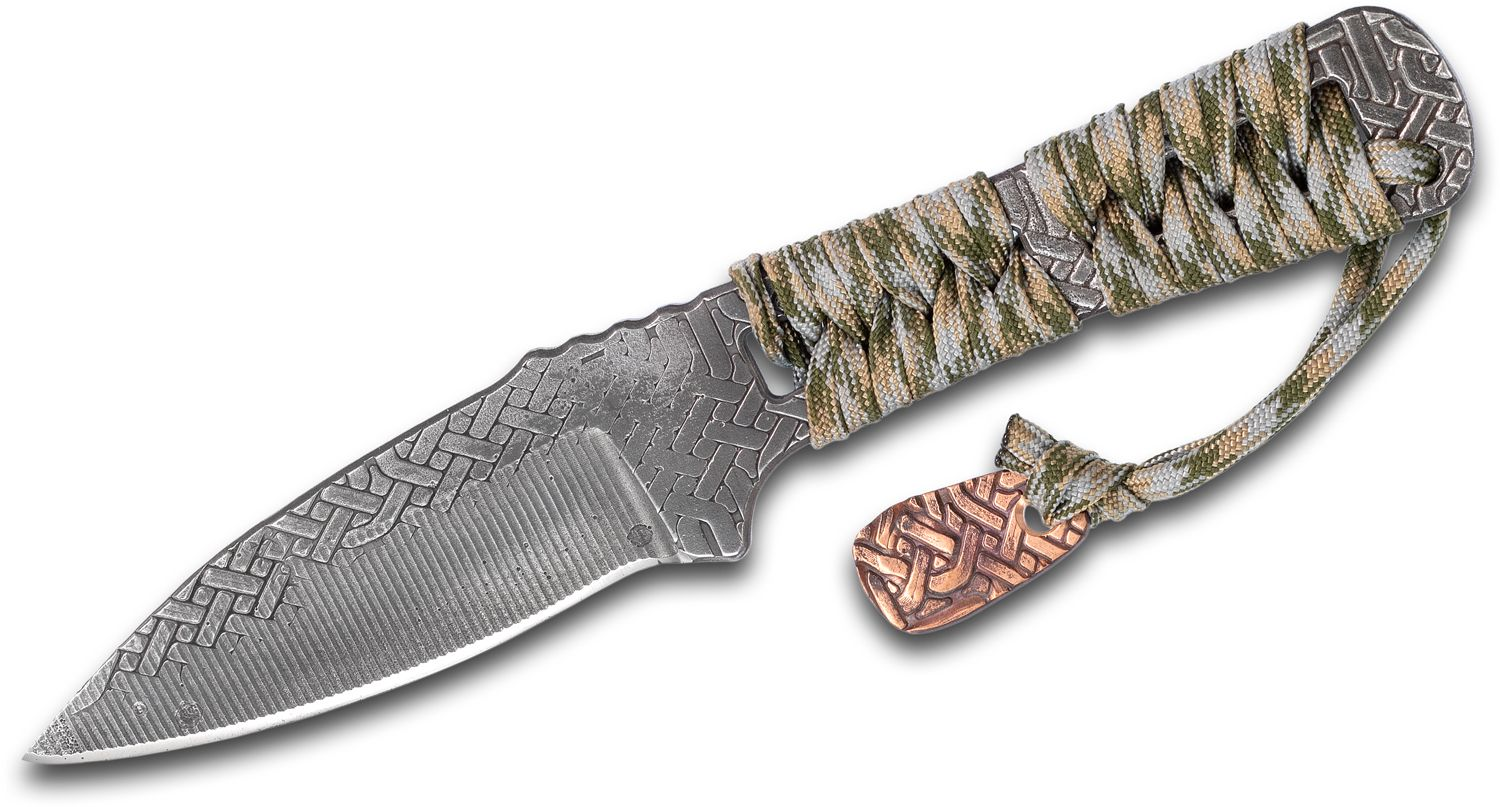 RMJ Tactical Custom Forged Utsidihi Fixed Blade Knife 3.75 inch Celtic Knot Nitro-V Stainless Steel, Green, Blue and Tan Cord Wrapped Handle, Leather Sheath