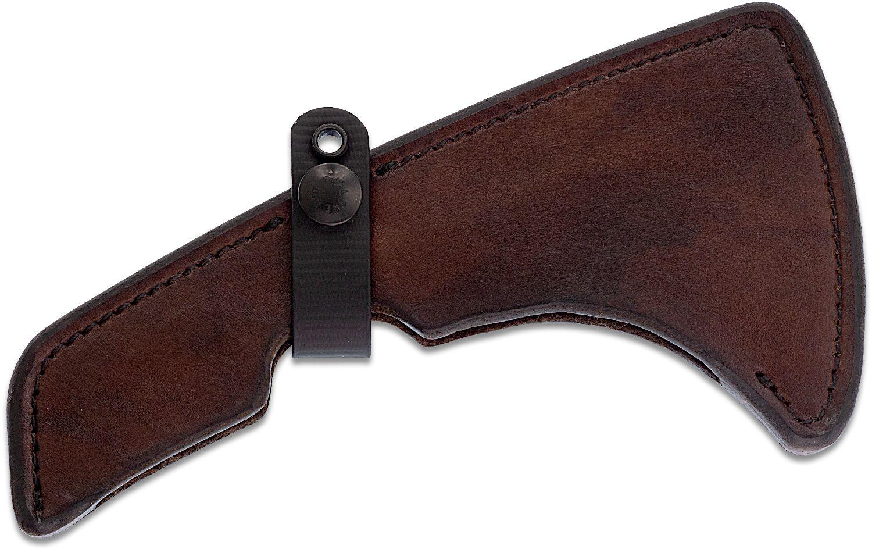 RMJ Tactical Brown Leather Sheath for the Kestrel/Talon Tomahawk, Sheath Only