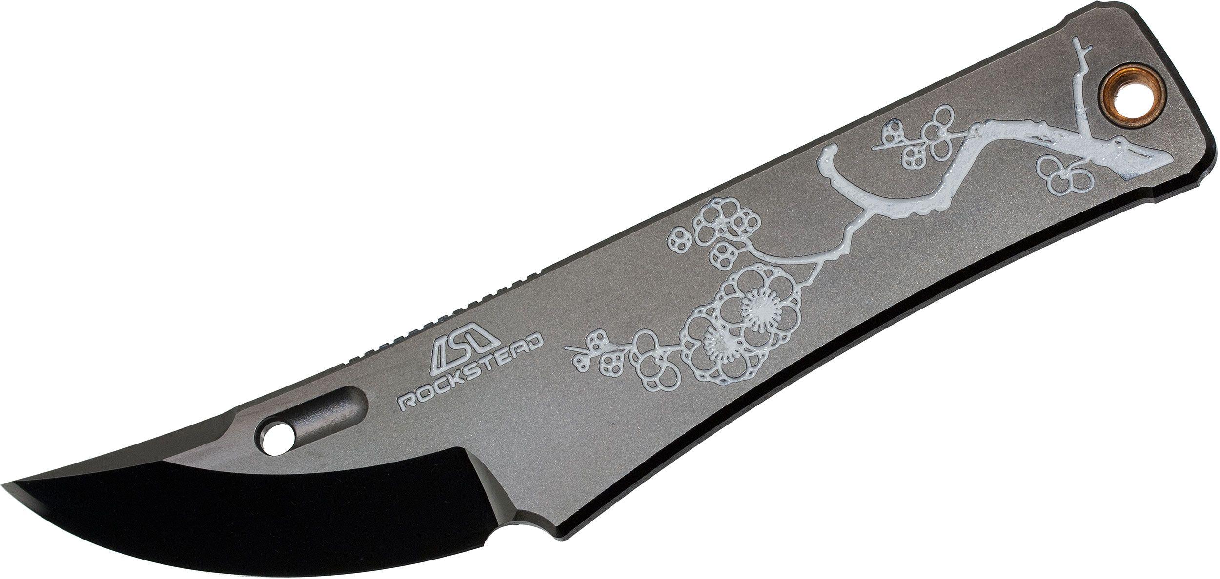 Rockstead CHOU-EP Japanese Neck Knife 1.875 inch YXR7 DLC Polished Blade,  inchPlum inch Etching, Kydex Sheath