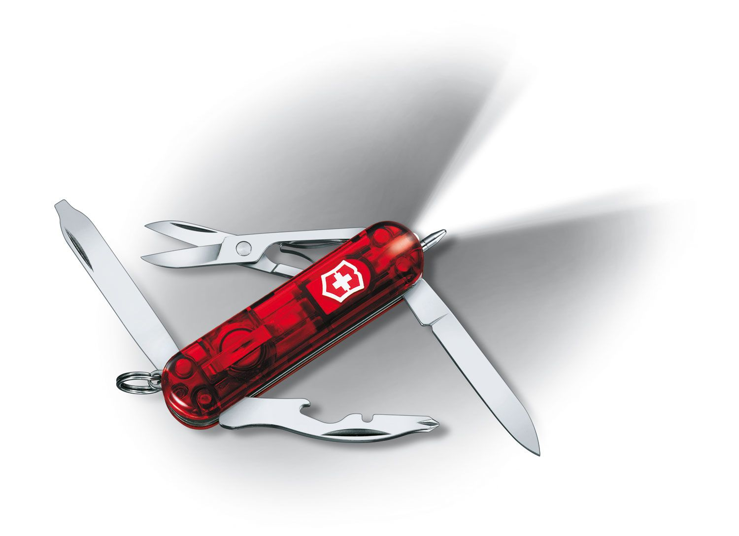 Victorinox Swiss Army Midnite Manager Multi-Tool with LED, Transparent Red, 2.28 inch Closed