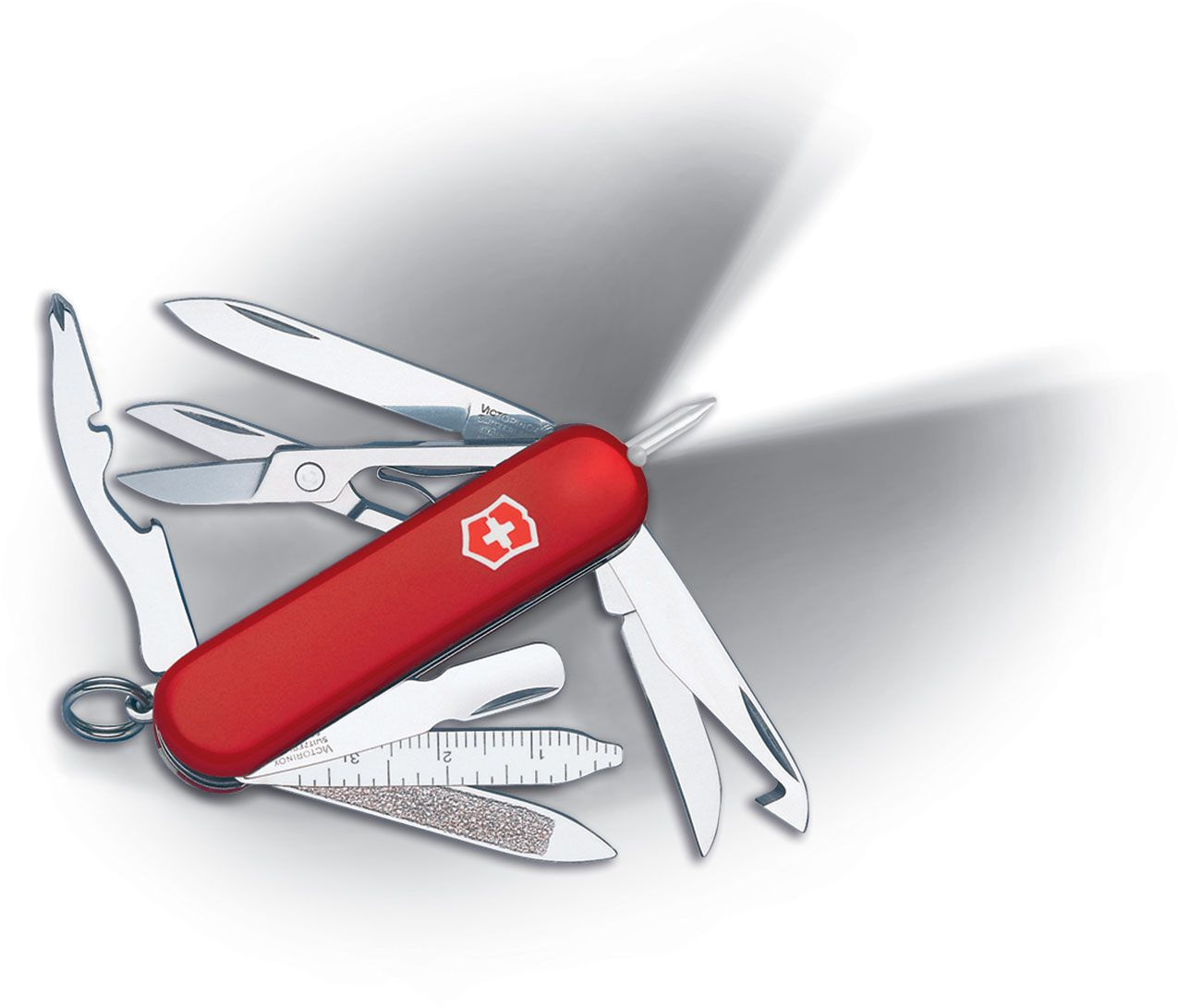 Victorinox Swiss Army Midnite MiniChamp Multi-Tool with LED, Red, 2.28 inch Closed