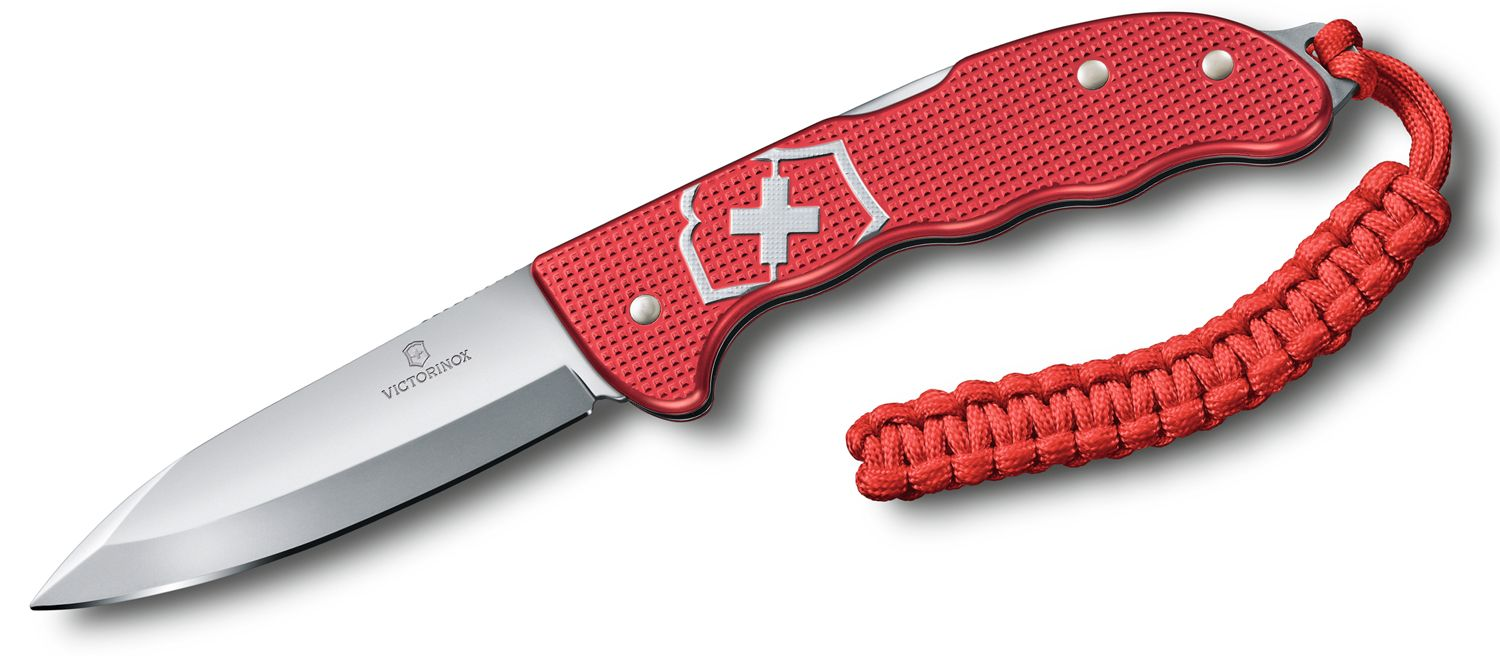 Victorinox Swiss Army Hunter Pro Alox Red Folding Knife 4 inch Bead Blast Blade, Red Alox Handles with Clip and Paracord
