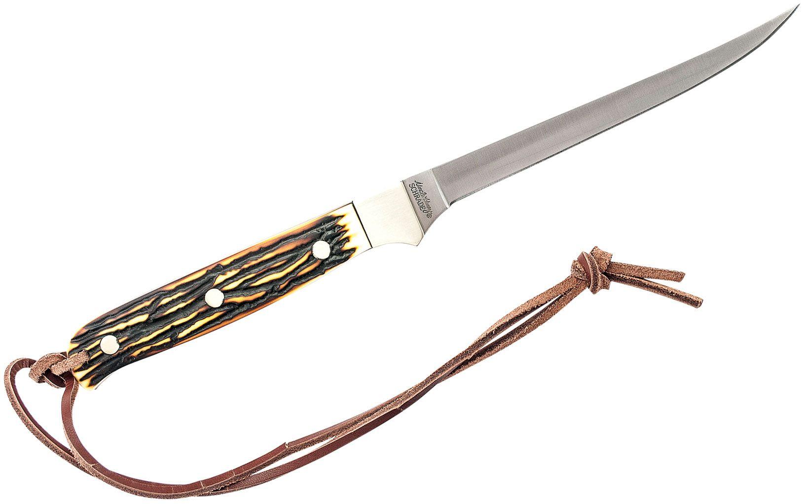 Schrade 168UH Uncle Henry Fillet Knife 5-1/4 inch Blade, Delrin Stag Handles