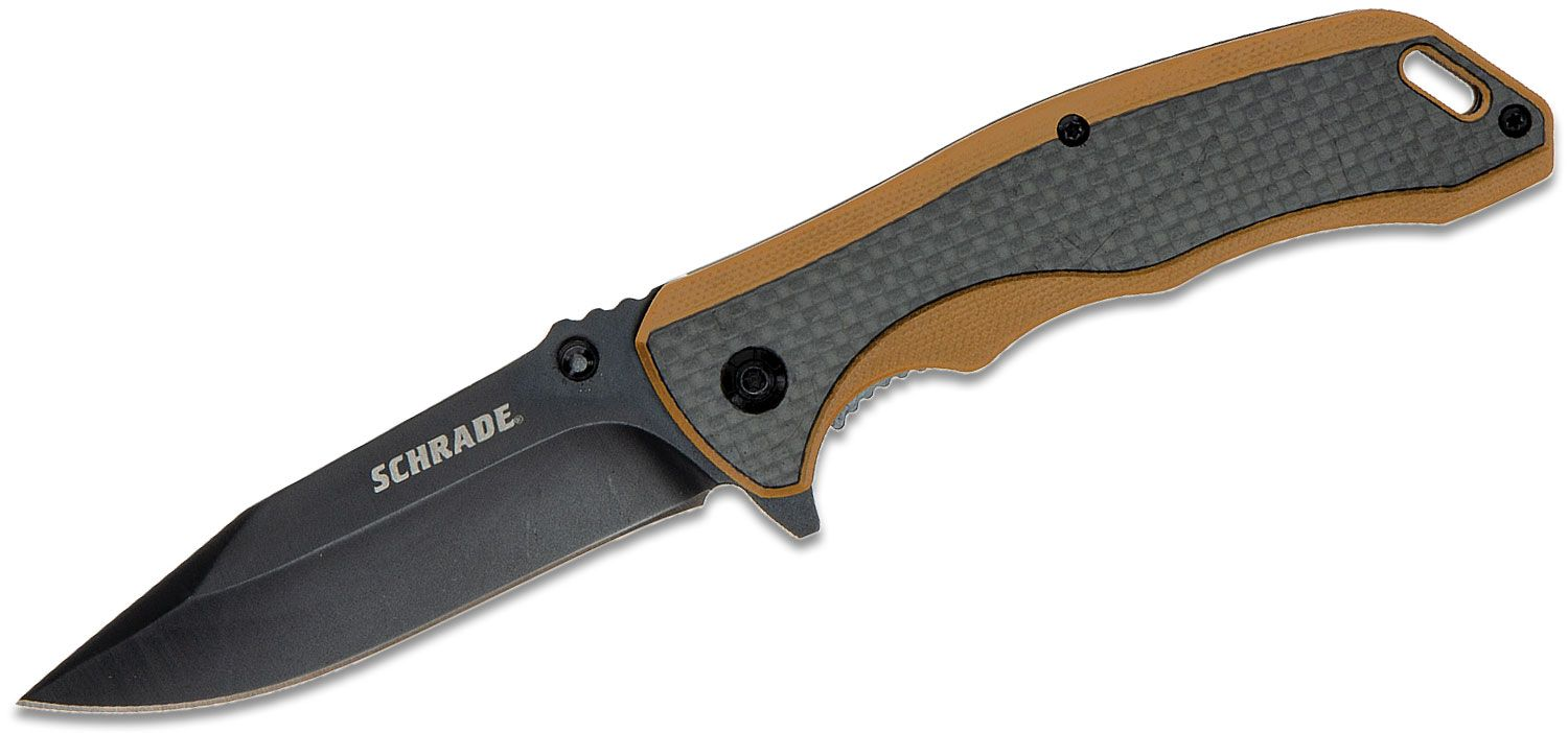 Schrade Ultra-Glide Flipper Knife 3.3 inch Black Oxide Clip Point Blade, Tan G10 and Carbon Fiber Handles