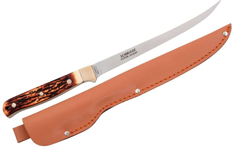 Schrade 167UH Uncle Henry Steelhead Fillet Knife 7-1/4 inch Blade, Delrin Stag Handles