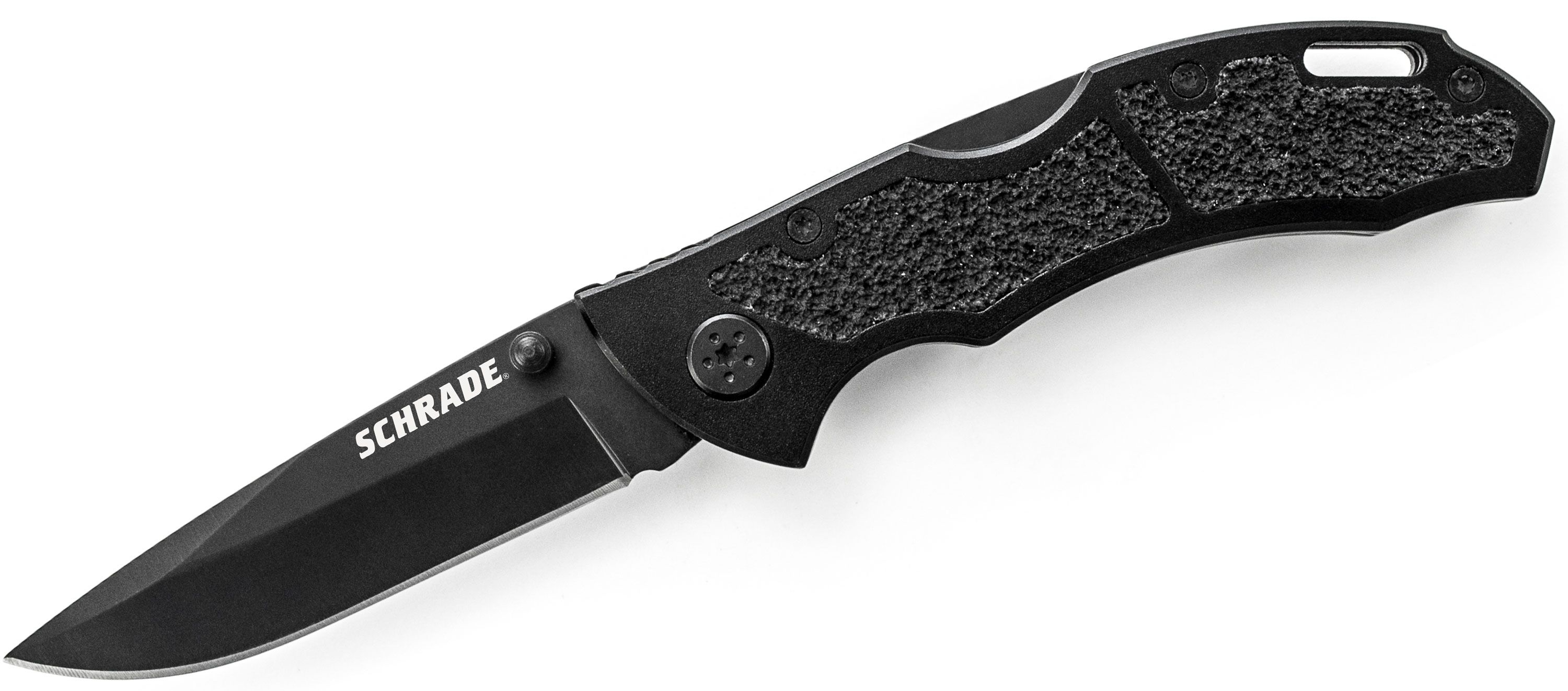 Schrade Utility Folding Knife 3.1 inch 9Cr14MoV Plain Drop Point Blade, Black Aluminum Handles