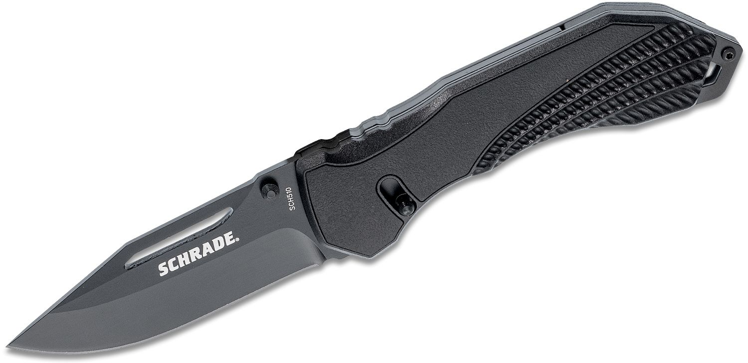 Schrade SCH510 Sure-Lock Folding Knife 3.47 inch Black Plain Blade, Aluminum Handles with Rubber Inlays