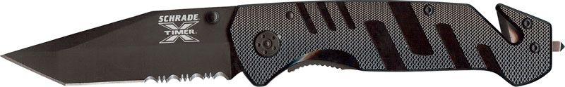 Schrade X-Timer 1st Response 3 inch Black Tanto Combo Edge Rescue Knife