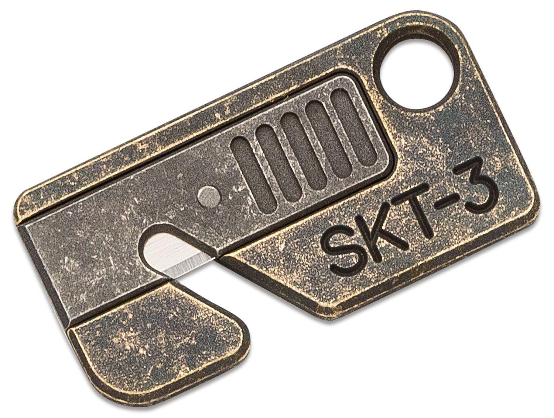 Serge Panchenko Custom SKT-3 Keychain Rope Cutter, Antiqued Brass and Aluminum, Mini-Utility Blade