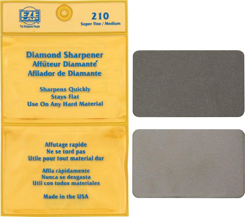 EZE-LAP Diamond Wallet Sharpeners Super Fine and Medium Grits 3.25  inchx 2 inch