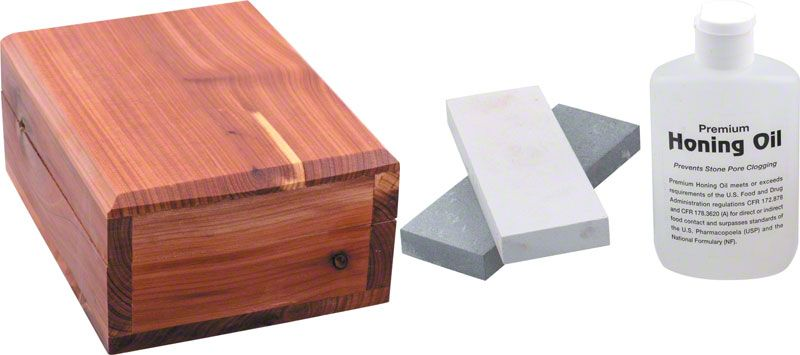 Arkansas Sharpener Deluxe Honing Kit with Wood Storage Box