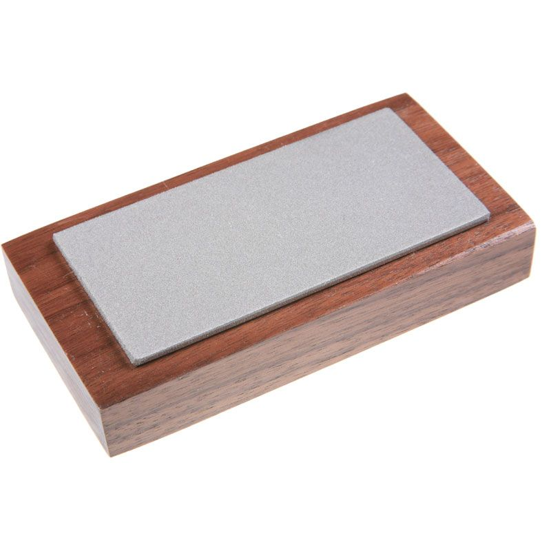 EZE-LAP Medium Stone on a Walnut Pedestal - 2 inch x 4 inch Diamond Stones