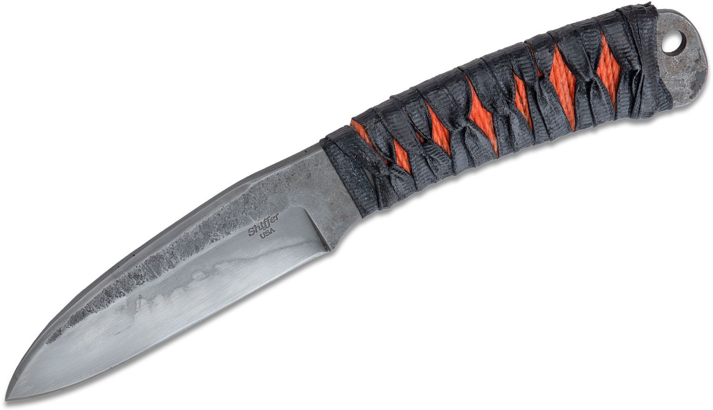 Doc Shiffer Knives Custom Forged Fixed Blade Knife 3.5 inch 1095 Hamon Sheepsfoot, Orange and Black Cord Wrapped Handle, Kydex Sheath