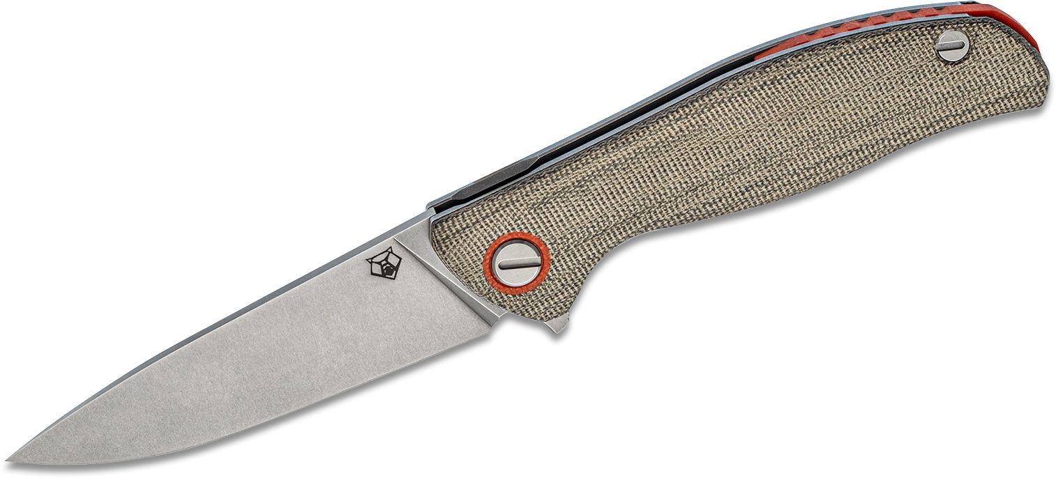 Shirogorov Model F3 Flipper Knife 3.875 inch Elmax Drop Point Blade, Green Canvas Micarta Handles with Orange Accents