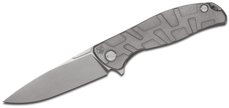 Shirogorov Model F95T Flipper Knife 3.875 inch M390 Drop Point Blade, Milled T-Pattern Titanium Handles