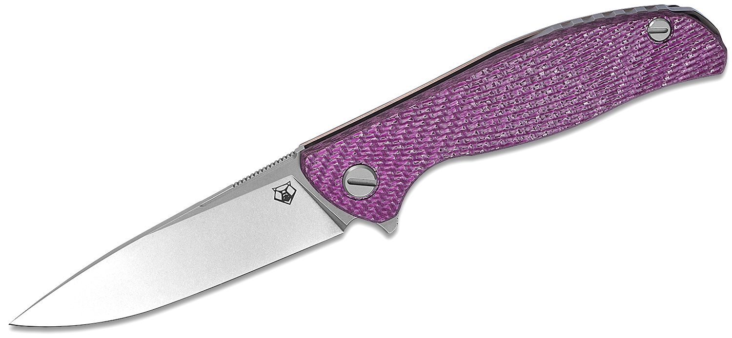 Shirogorov Hati R Flipper Knife 3.875 inch M390 Drop Point Blade, Milled Violet Alutex and Titanium Handles