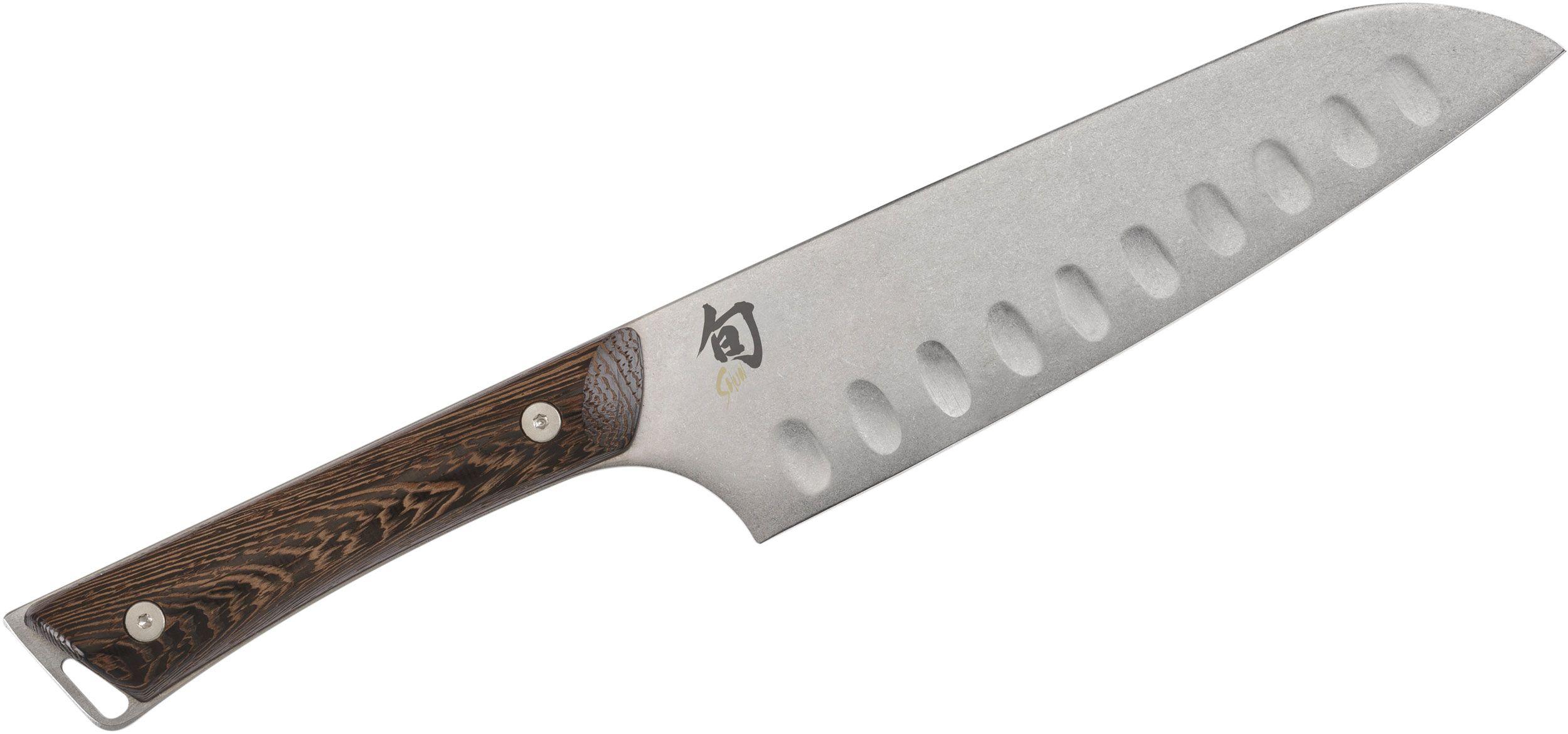 Shun SWT0718 Kanso Hollow Ground Santoku Knife 7 inch Blade, Tagayasan Wood Handles