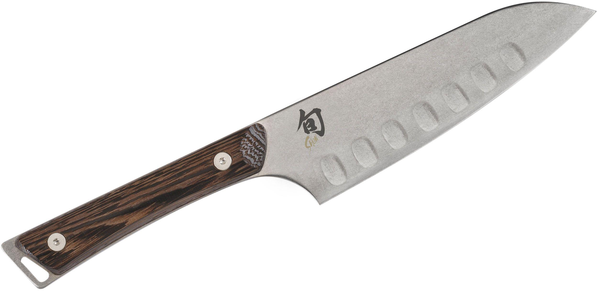 Shun SWT0727 Kanso Hollow Ground Santoku Knife 5.5 inch Blade, Tagayasan Wood Handles