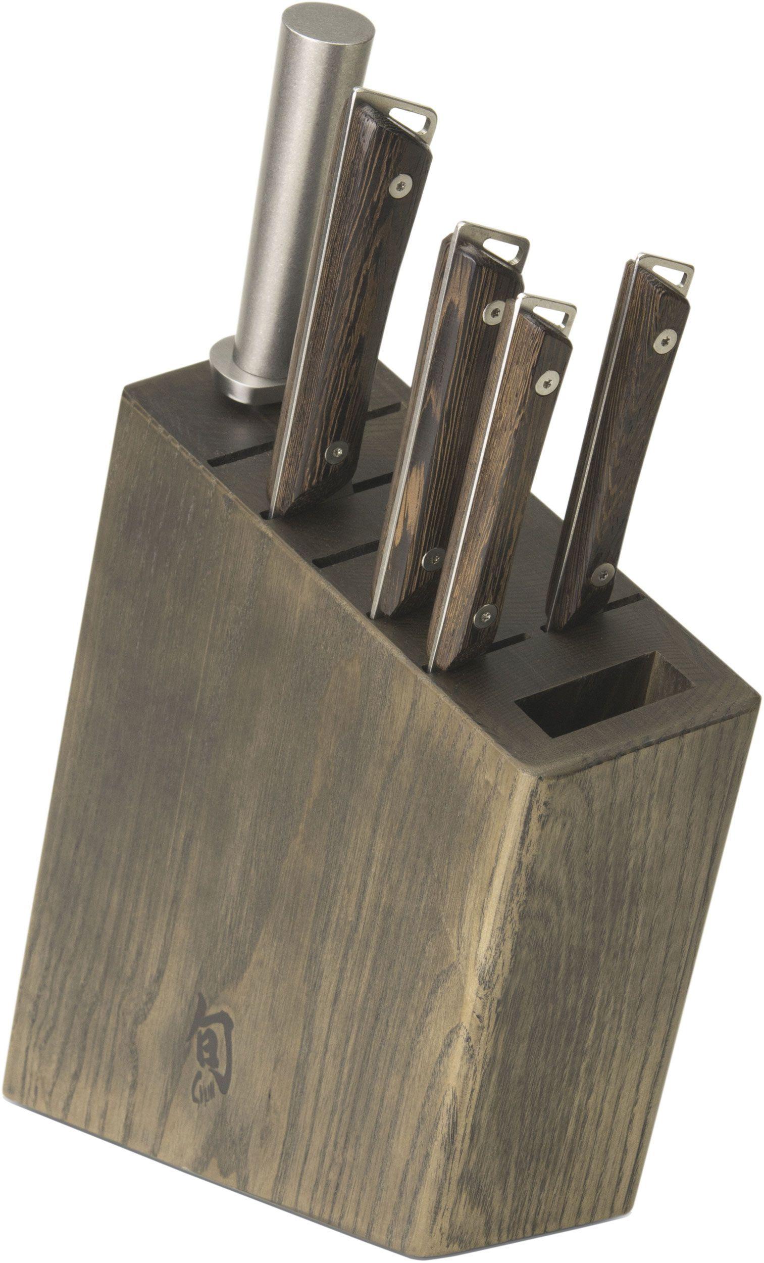 Shun SWTS0600 Kanso 6 Piece Block Set, Tagayasan Wood Handles
