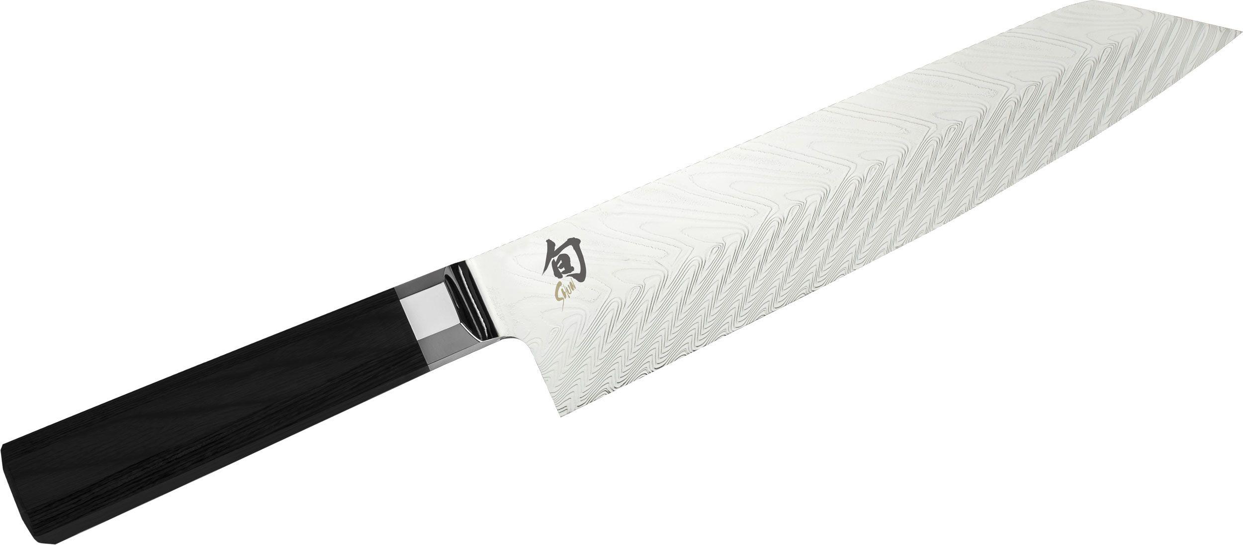 Shun VG0017 Dual Core Kiritsuke Knife 8 inch Damascus Blade, Ebony PakkaWood Handle
