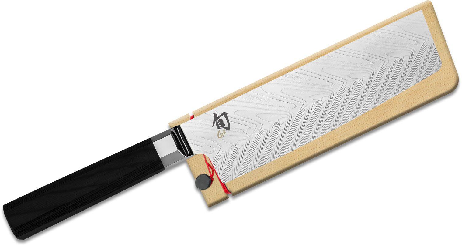 Shun VG0028 Dual Core Nakiri Knife 6.5 inch Damascus Blade, Ebony PakkaWood Handle, Wooden Sheath