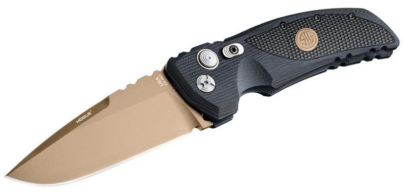 SIG Sauer by Hogue Elishewitz EX-A01 SIG Emperor Scorpion AUTO Folding Knife 3.5 inch 154CM FDE Plain Drop Point Blade, Black G10 Handles