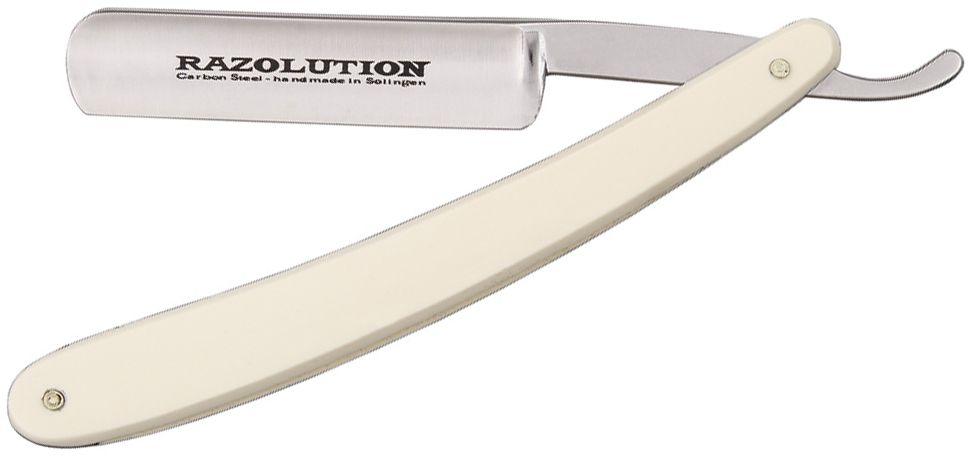 Simba Tec RAZOLUTION Straight Razor, 5/8 inch Carbon Steel, White Synthetic Handle
