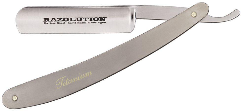 Simba Tec RAZOLUTION Straight Razor, 5/8 inch Carbon Steel, Titanium Handle
