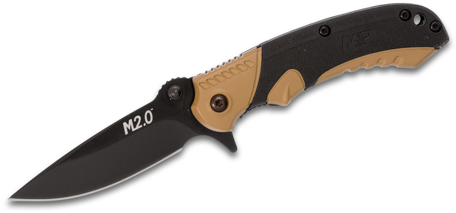 Smith & Wesson M2.0 M&P Ultra Glide Flipper Knife 2.75 inch Black Plain Drop Point Blade, FDE Aluminum Handles with Rubber Inserts