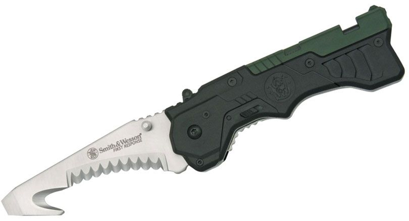Smith & Wesson First Response 3.5 inch Assisted Satin Serrated Edge, Rescue Hook , Glass Breaker