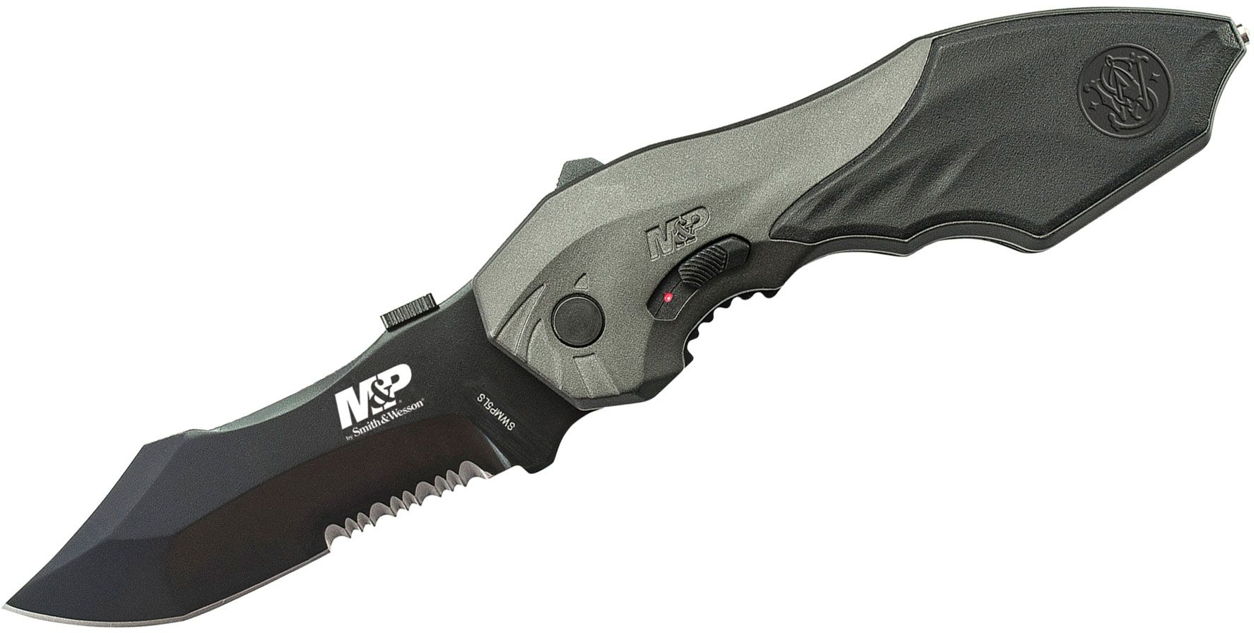 Smith & Wesson SWMP5LS M&P MAGIC Assisted Flipper 3.5 inch Black Combo Blade, Black Aluminum Handles with Rubber Inserts