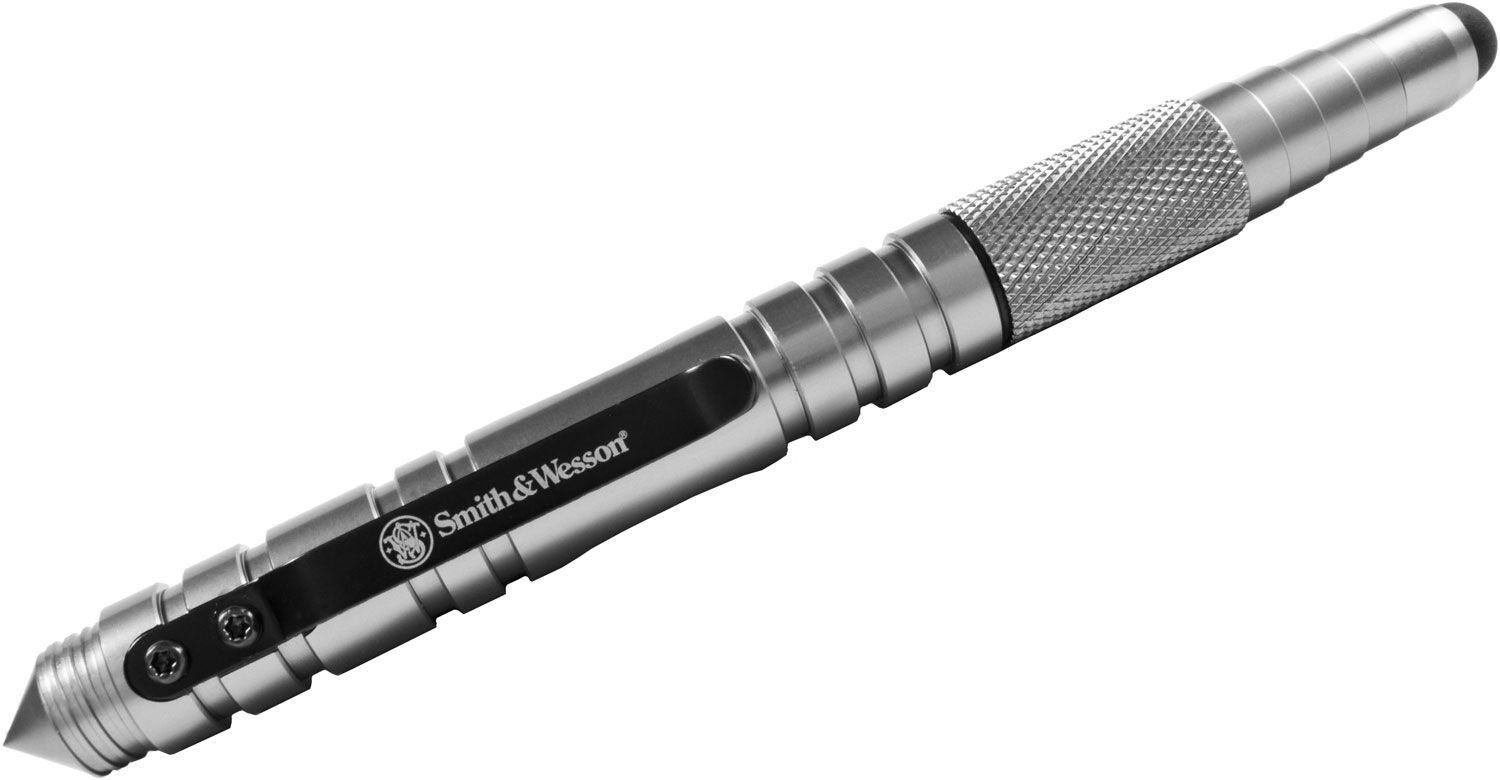 Smith & Wesson Tactical Pen and Stylus, Silver Aluminum