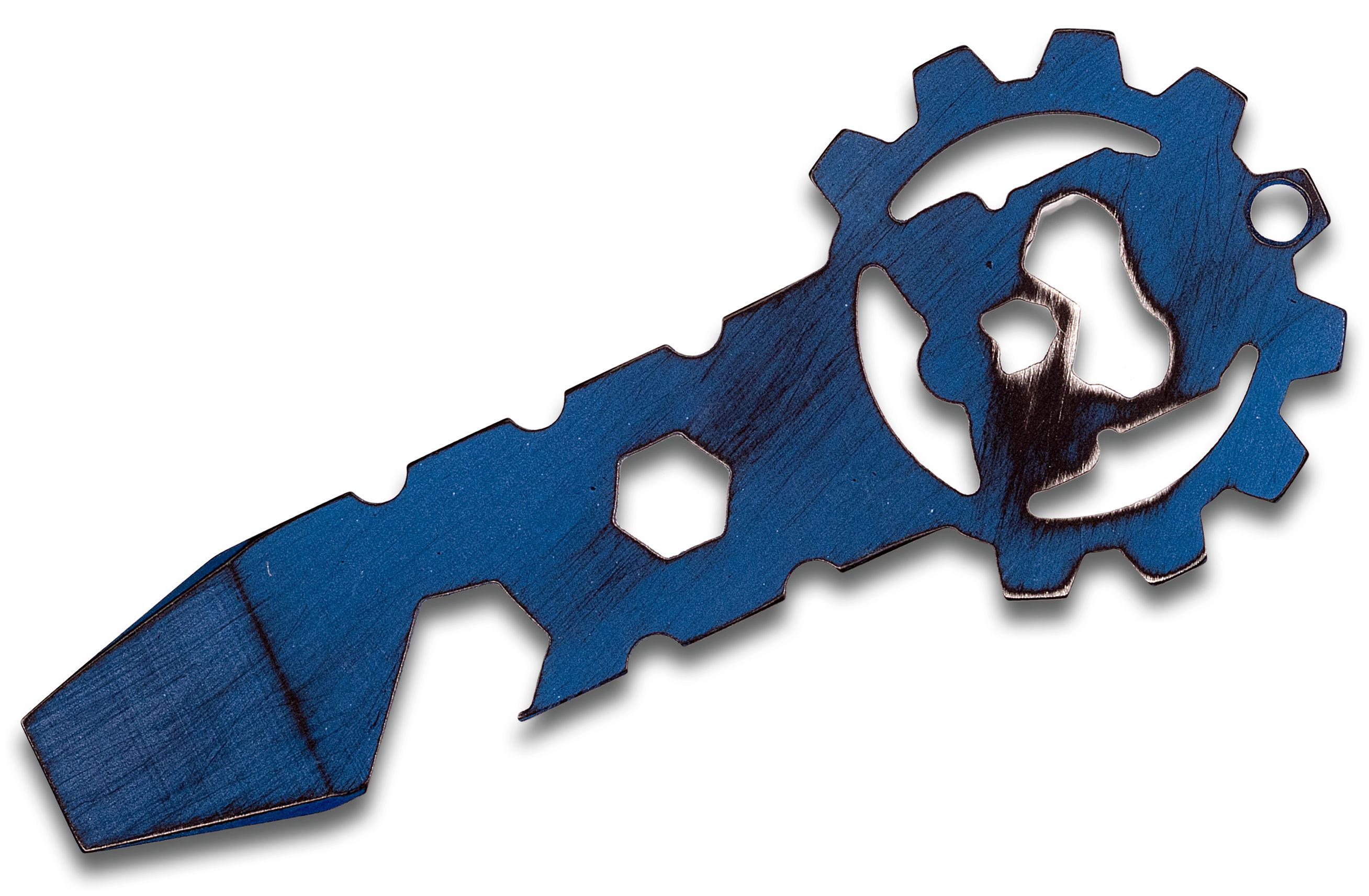 Smock Knives SmocKey Titanium Keychain Pocket Tool, Blue Battleworn Cerakote, 3.25 inch Overall