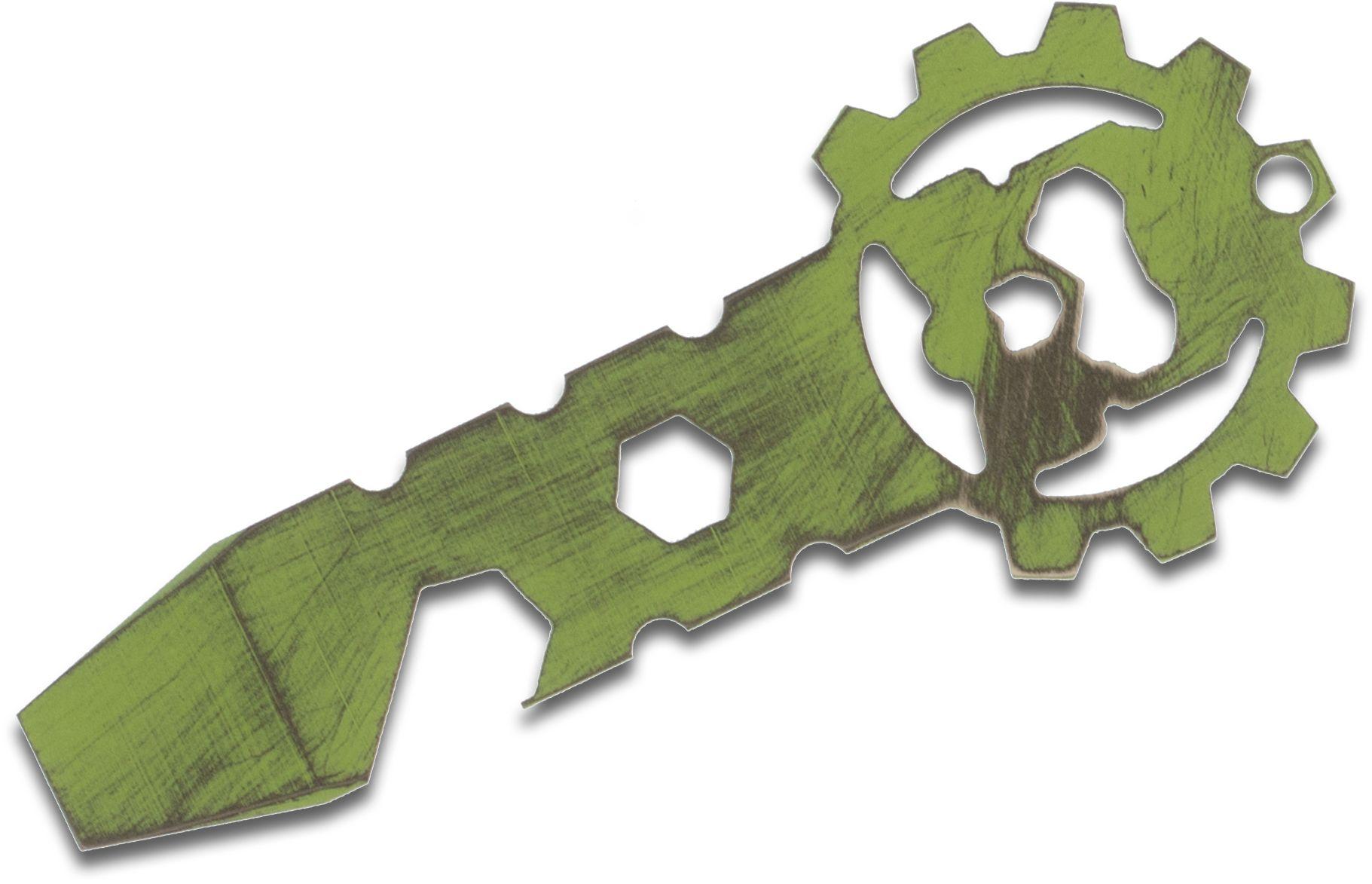 Smock Knives SmocKey Titanium Keychain Pocket Tool, Green Battleworn Cerakote, 3.25 inch Overall