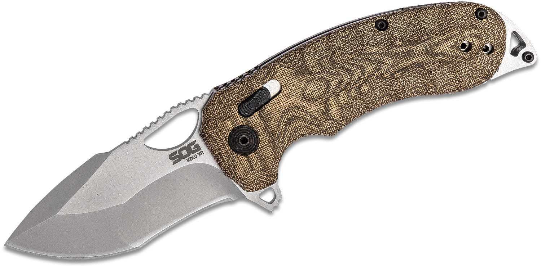 SOG Kiku XR Folding Knife 3.03 inch CTS-XHP Satin Plain Blade, Green Linen Micarta Handles - XR Lock