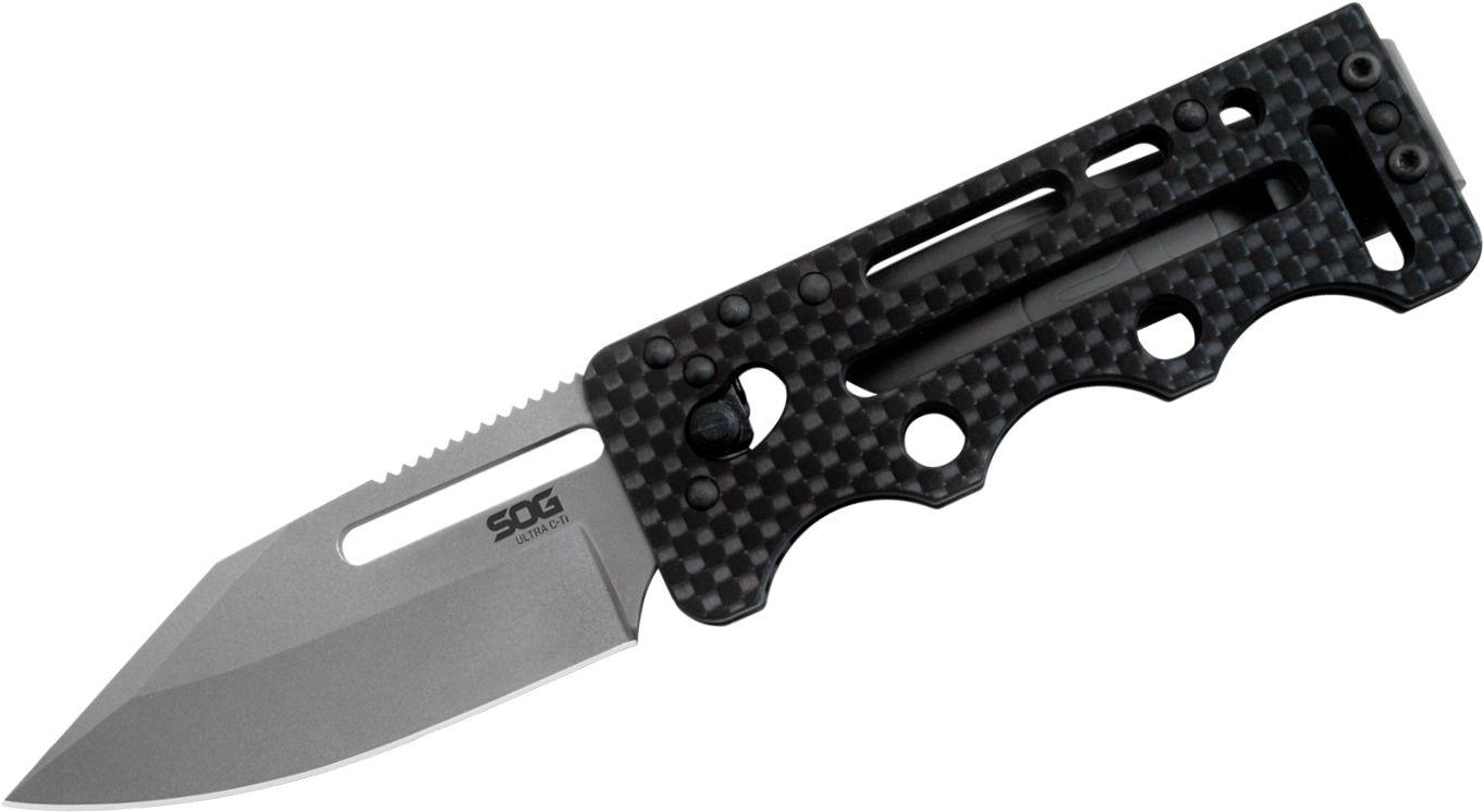 SOG Ultra C-Ti Money Clip Folding Knife 2.8 inch VG10 Clip Point Blade, Carbon Fiber Handles, Titanium Clip