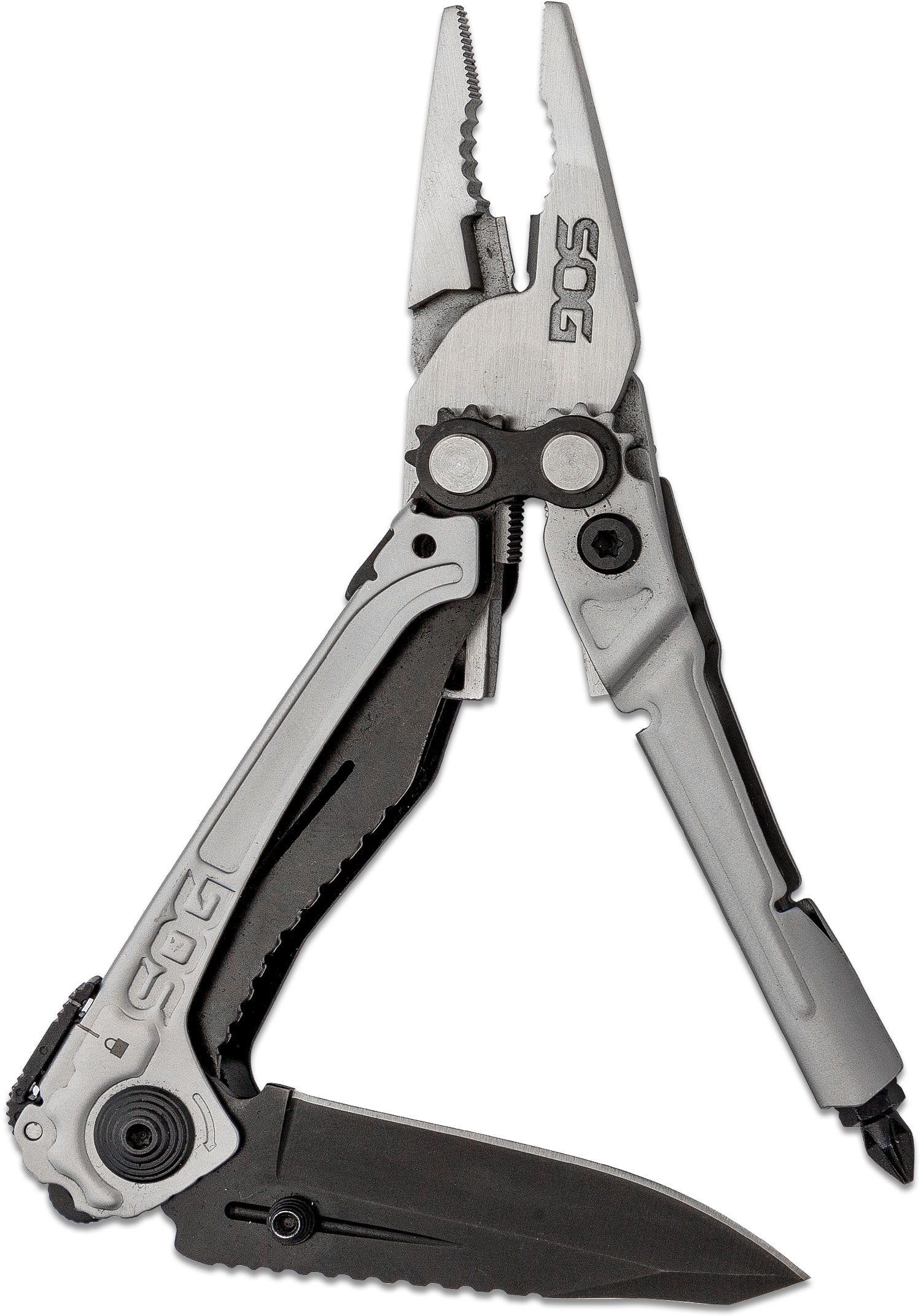 SOG RC1001 Reactor Multi-Tool, 2.5 inch Black Assisted Opening Plain Blade