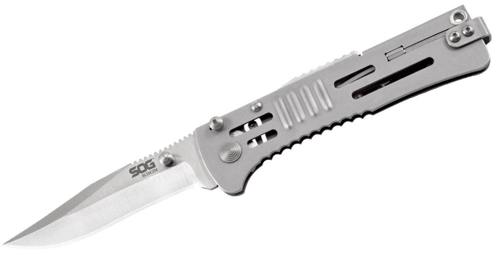 SOG SlimJim Folding Knife Assisted 3.18 inch Satin Plain Blade, Bead Blast Handles