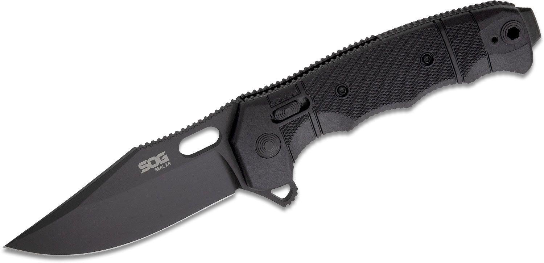 SOG SEAL XR Flipper Knife 3.9 inch Black TiNi S35VN Clip Point Blade, Black GRN Handles - XR Lock USA Made