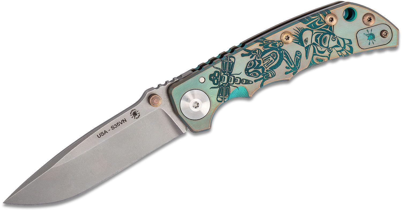 Spartan Blades 2020 Special Edition SHF Special Edition Harsey Folding Knife 3.95 inch S35VN Stonewashed Blade, Green/Bronze Northwest Coast Engraved Titanium Handles