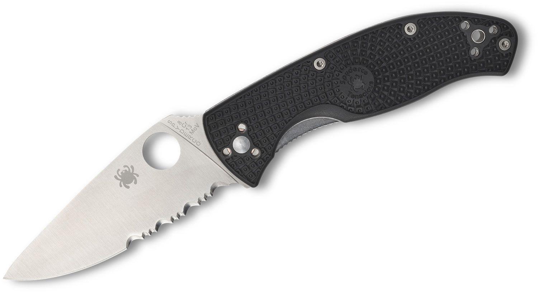 Spyderco Lightweight Tenacious Folding Knife 3.39 inch Satin Combo Blade, Black FRN Handles